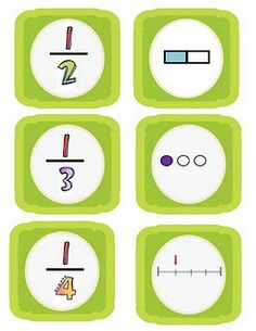 Fractions Freebie memory game uses number line, fractional parts, and visual representations. i Like!
