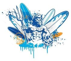 Buy Poseidon Surfer by doomko on GraphicRiver. poseidon on surfboard background Vector Icons, Vector Graphics, Vector Portrait, Illustrations, Vector Pattern, Birds In Flight, Surfboard, Graphic Art, Surfing