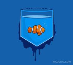 Pocket Fish – T-shirt available at Naolito.com