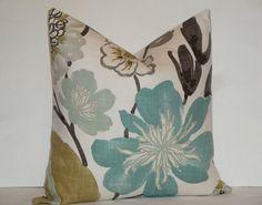 Decorative Pillow Cover - KRAVET - Aqua Teal Floral - Tan - Grey - Accent Pillow - Throw Pillow - Cushion Cover