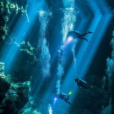 Divers ascend through shafts of light during their decompression stops after a long dive in a cave system in Mexico.