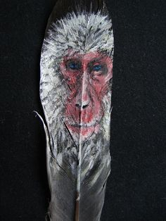 Ice Monkey Feather by JenTheThirdGal on DeviantArt Ice Monkey, Painted Feathers, Feather Painting, Types Of Art, Paintings, Deviantart, Crafts, Animals, Beautiful