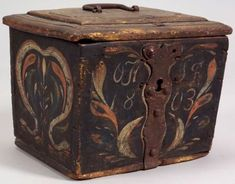 Sold for: $1,410 Painted Polpar Valuables Box, probably Pennsylvania, 1803, dovetail constructed box with overhanging molded lid with raised panel with ovolo...