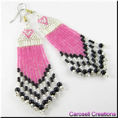 The Sweetheart Long Dangle Fringed Earrings TAGS - Jewelry, Earrings, Chandelier, carosell creations, glass, seed beads, czech, fire polished, valentine, holiday, pierced, accessories, sweet, heart, gift, pink, black, white, bugle, fringe, love, off loom, stitched, weaved, woven, hand made, crafted, beaded, dangle, women, native american indian, southwestern