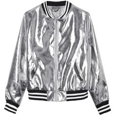 Sans Souci Silver metallic vegan leather bomber jacket (€53) ❤ liked on Polyvore featuring outerwear, jackets, silver, metallic bomber jacket, metallic jackets, vegan leather jacket, fake leather jacket and bomber jackets