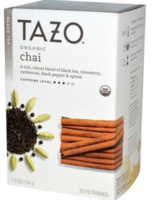 Tazo Teas Organic Chai Flavor Black Tea, 20 Filterbags 1.9 oz (54 g) Herbal  #Tazo