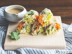 Salmon Spring Rolls with Sesame Miso Sauce