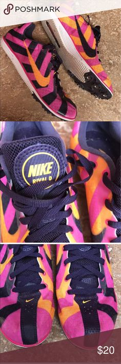 Nike Zoom Rival D Track and Field Shoes Size 9 In great used condition. The half inside of the shoe is orange and pink and the half outside of the shoe is pink and black. They are lightweight and great for running. Comes with spikes and key. Nike Shoes