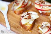 Apple , walnut,  brie & honey Bruschetta