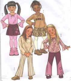 Childs Girls Top Skirt Pants Belt Sewing Pattern by SewingEtcetera, $4.95