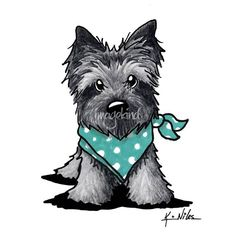 """Ash Cairn In Dots"" by Kim Niles: Cairn Terrier dog breed art by Contemporary Pup Artist, Kim Niles of KiniArt. KiniArt - ALL Rights Reserved."