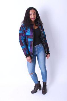 Bomber Jacket Wool filled  African Print Ankara