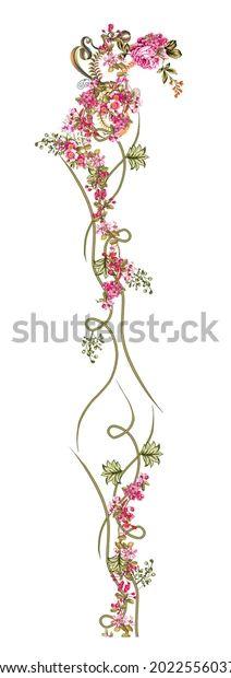 Digital Textile Design Motif Botanical Flower Stock Illustration 2022556037