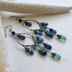 Teal Gemstone Chandelier, Oxidized Leaf Hoops, Apatite Chandelier Hoops, Kyanite Hoop Earrings, Oxidized Chandelier:  Ready to Ship
