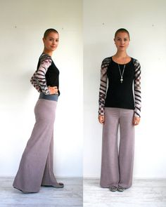 Vegan suede pants in rose gray wide leg trousers, made to order in sizes S M L XL on Etsy, $59.00