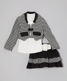 Loving this White & Black Houndstooth Skirt Set - Toddler & Girls on #zulily! #zulilyfinds