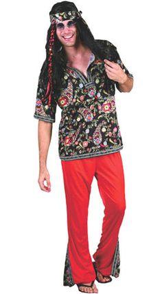 Disfraz de Hippie Hombre Rojo-Negro adulto