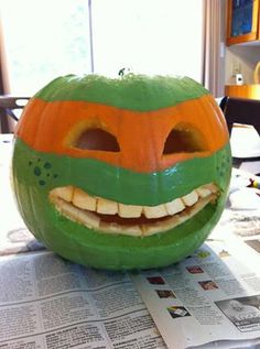 Michelangelo Pumpkin ~ the ninja turtles are back...and I've got one happy 3 yr old grandson!!