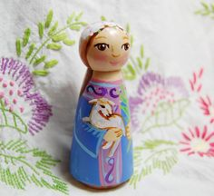 Saint Agnes Peg Doll with Lamb by SaintAnneStudio on Etsy
