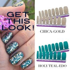 Get this look while you still can! Perfect for summer in to fall. Chica Gold is on the retired list… – piscivorous-sashes New Nail Polish, Nail Polish Strips, Mani Pedi, Manicure And Pedicure, Liquid Nails, Purple Nails, Gold Nails, Color Street Nails, Lounges