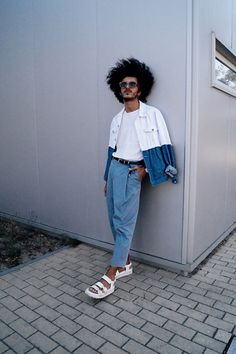Marco Moura - Asos Sandals, Zara Pants, H&M T Shirt, Asos Denim Jacket, Zara Belt, Asos Watch, Woodzee Sunglasses - Blues and whites | LOOKBOOK