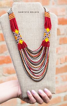 Necklaces – Page 3 – Modern Jewelry African Beads Necklace, Red Necklace, Seed Bead Necklace, Multi Strand Necklace, Beaded Earrings, Beaded Necklaces, Bead Jewellery, Beaded Jewelry, Micro Macramé