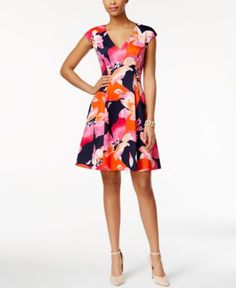 Vince Camuto Cap-Sleeve V-Neck Floral Fit-and-Flare Dress - Dresses - Women - Macy's