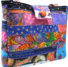 Purse in Laurel Burch Fanciful Feline Fabrics by Sieberdesigns