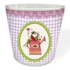"""Das lila Teelichtglas """"Gartenzauber"""" von #SilkeLeffler eignet sich fabelhaft zur Dekoration Ihrer Terrasse oder Ihres Balkons und lädt im sanften Schein einer Kerze zum gemütlichen Beisammensein ein. https://www.graetz-verlag.de/lila-teelichtglas-gartenzauber"""