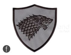 """Game of Thrones - House of Stark Coat of Arms Embroidered Iron-on Patch 3.5"""" by FerdinandWorks on Etsy https://www.etsy.com/au/listing/240689982/game-of-thrones-house-of-stark-coat-of"""