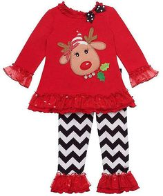 d2eae903dd286 Red knit top with cute REINDEER applique and sparkling mesh ruffles, over  bold white-black chevron print leggings outfit for little girls by Rare  Editions