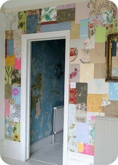 I'm thinking laundry room? Those little wallpaper samples might come in handy!