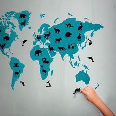 Wall sticker Animal World Map wall art graphic decals original stickers idea by Hu2 Design designer quirky decorative eco-friendly alternative kid bedroom decoration