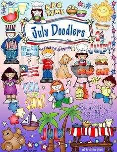 July Doodlers summer clip art, barbecue clip art, 4th of July, Independence Day, summer clip art, July clip art