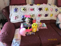 THINGS I MADE FOR EASTER ALSO MADE THE AFGHAN ON THE BACK OF THE COUCH.
