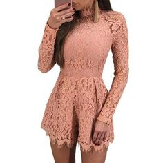 c662fb87210 Elegant Hollow Out Lace Rompers Womens Summer Jumpsuit Sexy Ladies Casual  Long Sleeve Overalls Short Playsuit