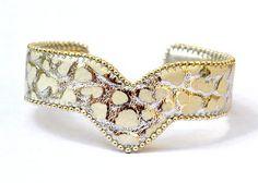 Bracelet Femme Cuir Blanc Argent Craquelé Forme V : Bracelet par source-aux-bijoux