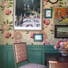Madcap Cottage at Adamsleigh Show House, large rose wallpaper w/ teal wainscotting
