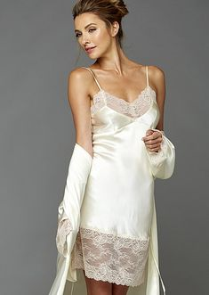 A good night's sleep starts before you even hit the bed, with a luxury cotton or silk nightgown from Julianna Rae. Shop our designer nightgowns now. Satin Lingerie, Pretty Lingerie, Beautiful Lingerie, Women Lingerie, Lace Slip, Silk Slip, Satin Slip, Silk Chemise, Silk Nightgown
