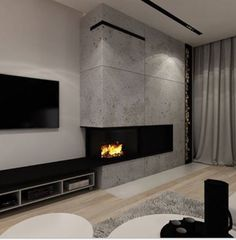 Architecture and interior design in Poland. Modern Bedroom Design, Modern House Design, Home Interior Design, Home Living Room, Living Room Designs, Living Spaces, Feature Wall Living Room, Lobby Design, Home Fireplace