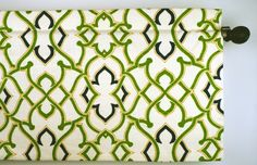 Geometric Design Valance in Kelly Green, Navy and Mustard Fabric by Waverly Circa Dawn (curtain rod not included). $42.95, via Etsy.