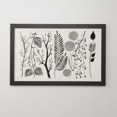 Botanical art by Karolin Schnoor. This lovely, black and white illustration is reminiscent of Victorian pressed flower art.