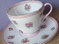 Antique tea cup and saucer set, vintage Shelley tea cup, English tea set, pink roses bone china tea cup, pink wedding gift