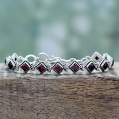 Novica Sterling Silver 'Deep Diamonds' Garnet Bracelet
