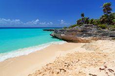Caribbean Sea beach in Playa del Carmen, Mexico. Cancun, Tulum, Baja California, Oaxaca City, Mexico Culture, Mexico Resorts, Visit Mexico, Caribbean Sea, White Sand Beach