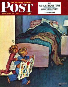 Children with Sunday comics waking dad