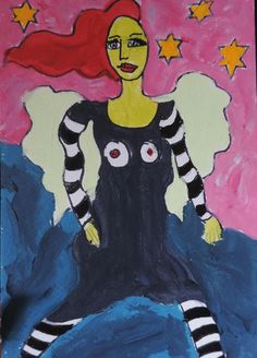 "original expressionist, fauve, outsider ""RUNNING ANGEL""painting, raw, brut #OutsiderArt Nancy Denommee"