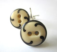 Antique button earrings, 1800s china buttons