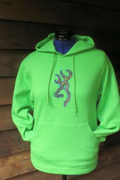 Women's Browning like Buck Deer Lime Green Hoodie w Realtree Camo embroidery outlined w/ Royal Blue by LoveIndianaOutdoors, $35.00