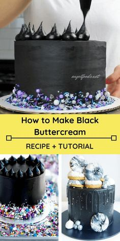 How to Make Black Buttercream (Recipe + Tutorial) By using black cocoa (tastes like Oreos) and small amount of black gel color, and making It the day before, you get a truly black icing. It also tastes great, isn't bitter and doesn't stain teeth black! Cake Decorating Techniques, Cake Decorating Tutorials, Cookie Decorating, Food Cakes, Cupcake Cakes, Buttercream Recipe, Cake Business, Cake Icing, Cake Tutorial